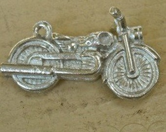 3d motor cycle motorcycle charm  pewter made in america  WV11 transportation wheels biker gift for him