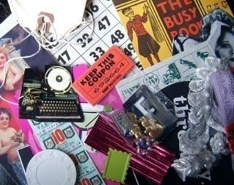 Wholesale lot    four packages of scrap  collage scrap pictures ribbons ephemera small objects who knows