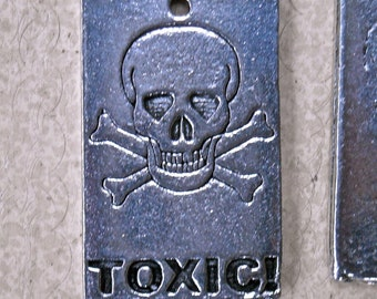 toxic charm pendant pewter jewelry supplies Halloween skull goth  zombie