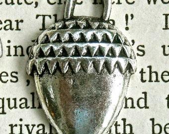 acorn Charm jewelry supplies acorn nut antiqued silver pendant charm quantity three  RB8