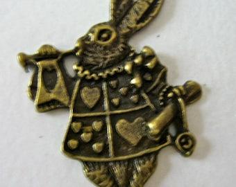 Alice Rabbit pendant charm antiqued bronze quantity 2   (k13) alice in wonderland jewelry findings supplies pendant