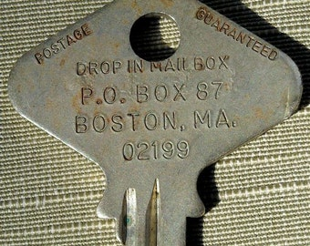 huge key vintage 1224 numbered Boston Mass return postage (SS1) unusual use in jewelry or altered art, makes great pendant