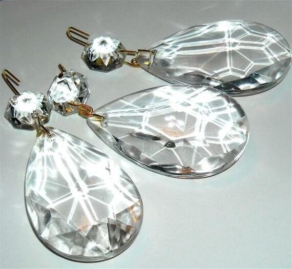 Items Similar To Vintage Chandelier Parts Prism Crystal