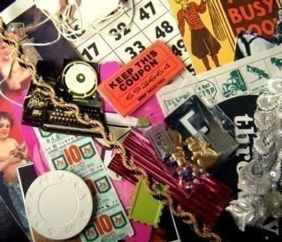 COLLAGE SCRAP PICTURES RIBBONS EPHEMERA SMALL OBJECTS WHO KNOWS   GRAB BAG SUPRIZE