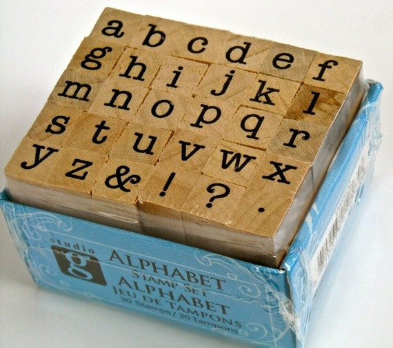 Mini Alphabet Stamp Typewriter Font Miniature Set By