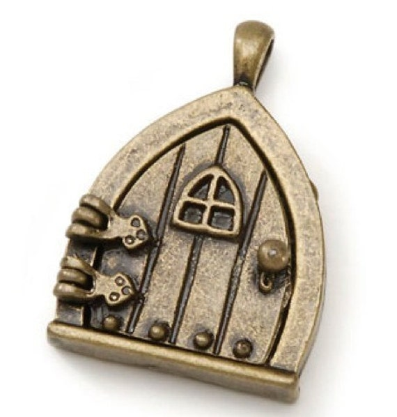 Hobbit Fairy Door  Triangle  Wish Keeper antique bronze  Pendant P13  triangle  window