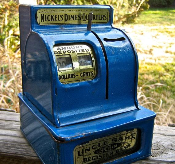 vintage Uncle Sam's 3 Coin Register Bank.