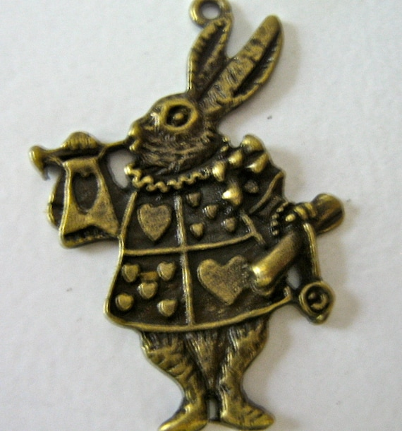 Alice Rabbit pendant charm antiqued bronze quantity 4  Size:3x25x2  mm  drw15
