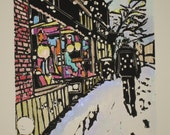 Village Snow - Original Woodblock Print