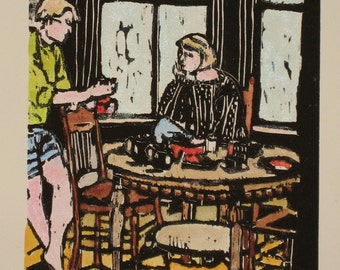 Beach House Breakfast - Original Woodblock Print
