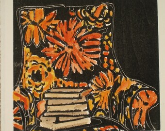 Bookish Chair - Original woodblock print