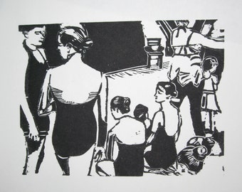 Backstage at the Ballet - Original Woodblock Print