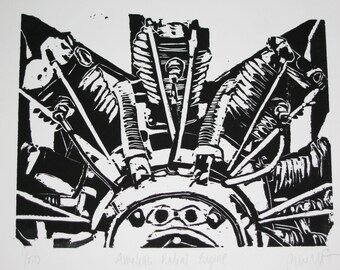 Amelia's Radial Engine - Original Woodblock Print