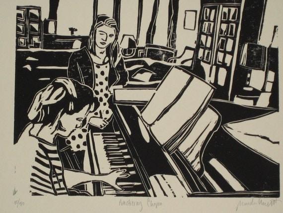 Practicing Chopin - Woodblock Print