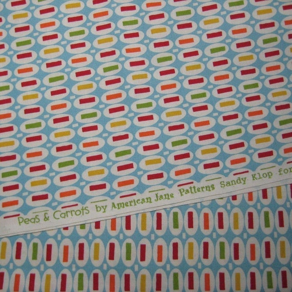 Fat Quarter American Jane Patterns Pez Peas and Carrots LIGHT BLUE MULTI Moda Fabric HTF Sandy Klop Fat Quarter