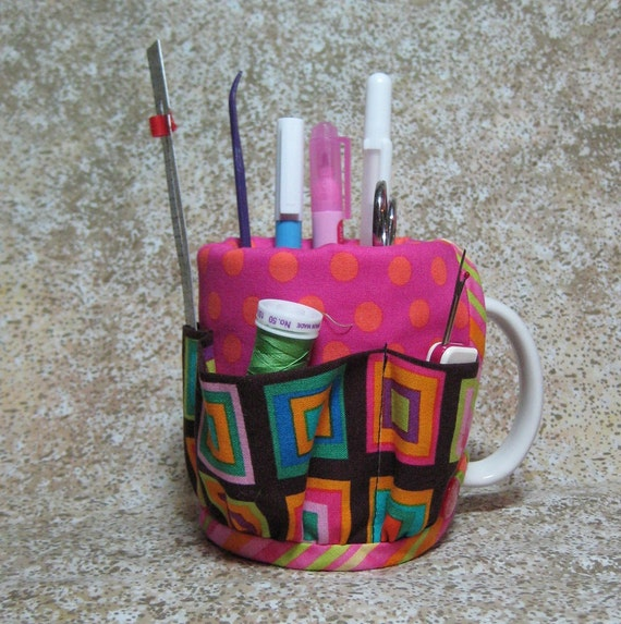 Coffee Caddy Desk Sewing Organizer Cozy For Mug or Goblet Schimler Blocks Brown Pink Orange Wild Hot