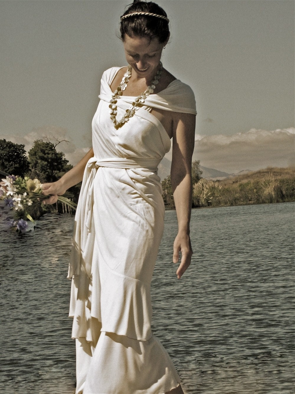 Wedding convertible wrap as dress toga kimono skirt shawl for Toga style wedding dress