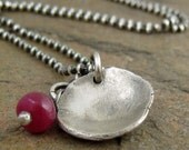 Sterling Silver & Genuine Natural Red Ruby Necklace with Eco Friendly Recycled Silver Reclaimed Metal Jewelry