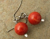 Oxidized Sterling Silver Red Sponge Coral Earrings Dangle Earrings Beach Jewelry