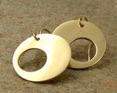 Asymmetrical Gold Earrings 14k Gold Fill & Red Brass Geometric Jewelry Small Dangle Earrings Contemporary Brass Jewelry