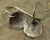 Small Silver Disc Earrings, Hammered Silver Earrings, Silver Dangle Earrings, Black Silver Earrings, Sterling Earrings, Small Earrings