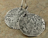 Big Hammered Silver Earrings, Large Silver Disc Earrings Sterling Hammered Disc Earrings Silver
