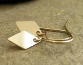 14k gold fill diamond earrings. Sleek modern contemporary geometric drop goldfill metal jewelry, small gold earrings, dangle earrings