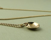14k Gold Filled Disc Necklace, Small Gold Disc Necklace, Modern Minimalist Simple Gold Necklace