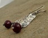 Hammered ruby earrings, oxidized silver bar earrings, sterling silver dangle earrings