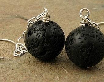 Black Lava Earrings, Long Sterling Silver Earrings, Unique Long Earrings, Natural Stone Jewelry