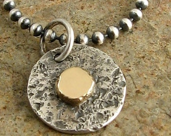Mixed Metal Necklace Sterling Silver and Gold, Small Silver Circle Pendant in Silver and Gold, Small Silver Disc Necklace 14k and Sterling
