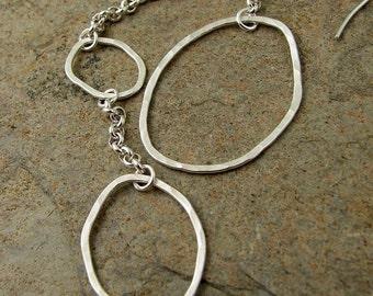 Long Silver Earrings, Extra Long Asymmetrical Earrings, Handmade Sterling Earrings with Chain Mismatched Earrings Organikx
