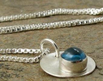 Swiss Blue Topaz Necklace Sterling Silver Jewelry Modern Blue Topaz Jewelry December Birthstone Birthday Bezel