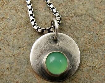 Mint Green Chrysoprase Necklace, Oxidized Sterling Silver Necklace, Button Gemstone Necklace