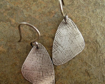 Hammered Silver Earrings, Oxidized Silver Dangle Earrings Modernist Triangle Earrings, Sterling Earrings, Sterling Silver Earrings
