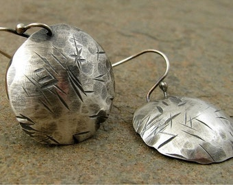 Large Silver Disc Earrings, Hammered Silver Earrings, Rustic Oxidized Silver Earings