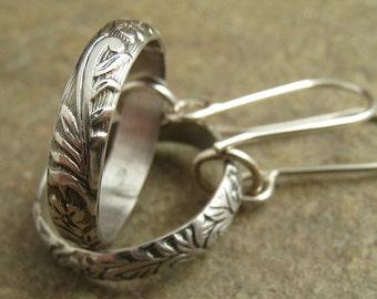Art Deco Sterling Silver Earrings, Flower Vine Silver Dangle Earrings, Rustic Silver Jewelry Flower Earings
