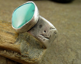 Rustic Turquoise Ring Sterling Silver Oxidized Silver Hammered Silver Ring, Silver Turquoise Ring, Sleeping Beauty American Turquoise Blue