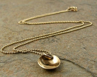 Solid 14k Gold Necklace- Gold Disc Ball Chain Minimalist Modern Contemporary Yellow Gold Jewelry 14kt Karat