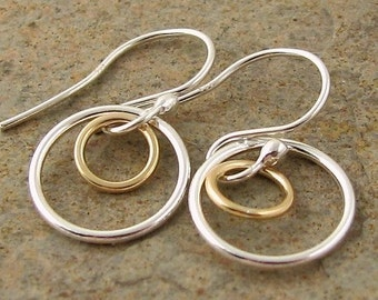 Small Silver Earrings, Mixed Metal Silver & Gold Earrings, Simple Silver Earrings, Silver Dangle Earrings, Sterling Silver Circle Earrings