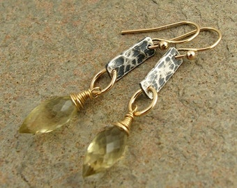 Gold and Silver Earrings, Oro Verde Lemon Quartz Oxidized Silver and Gold Earrings, Mixed Metal Earrings, Quartz Gemstone Earrings