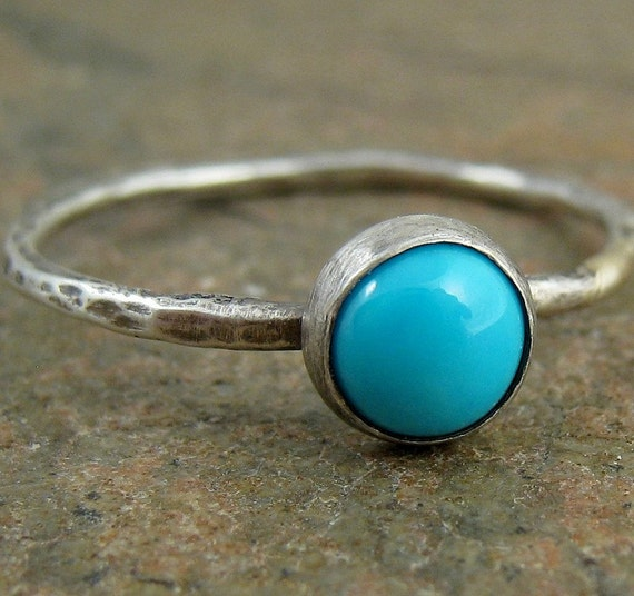 Turquoise Stacking Ring Sterling Silver Turquoise Ring, Hammered Silver Ring with Turquoise, Sleeping Beauty, Birthstone Stacking Ring 5mm