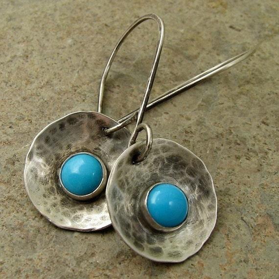 Sleeping Beauty turquoise earrings. Hammered sterling silver earrings. Rustic Southwestern fashion