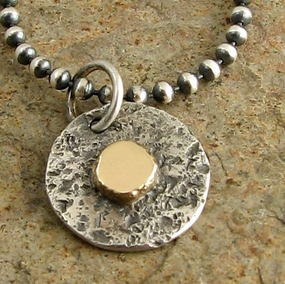 Mixed Metal Necklace in Sterling Silver & Gold, Small Silver Circle Pendant, Small Silver and Gold Necklace 14k Gold