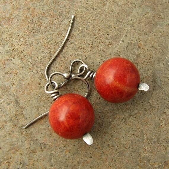 Oxidized Sterling Silver Red Sponge Coral Earrings Dangle Earrings Beach Jewelry