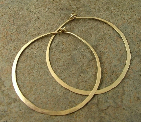 "Large Gold Hoop Earrings. Gold Hoops, 14k Gold Filled Earrings, Minimalist Modern Jewelry, 1.75"" Hoops"