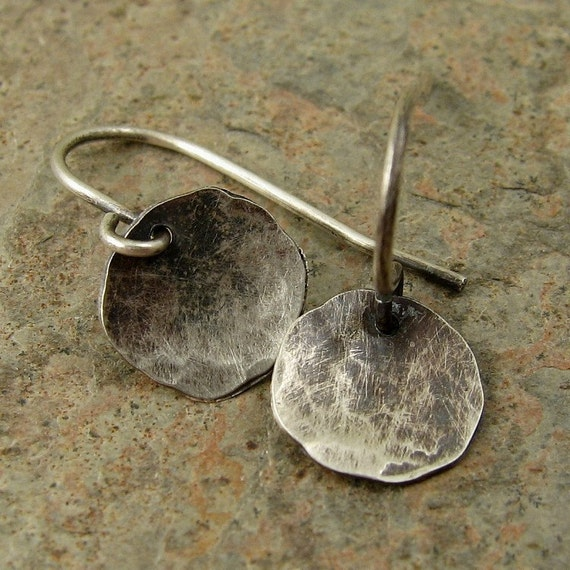 Small Silver Disc Earrings, Hammered Silver Earrings, Silver Dangle Earrings, Black Silver Earrings, Sterling Earrings