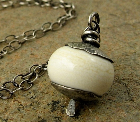 Ivory Lampwork Necklace, Lampwork Bead Necklace, Sterling Silver Necklace with Lampwork Bead, White Bead Necklace