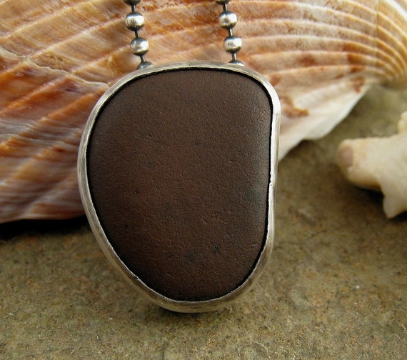 Necklace with bezel set chocolate brown beach stone from Greece & solid 925 sterling silver. Pebble by Organikx
