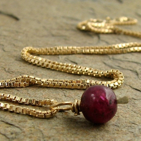 Genuine Ruby Necklace Gold Fill, Red Ruby Jewelry, July Birthday Birthstone Gemstone Gold Necklace